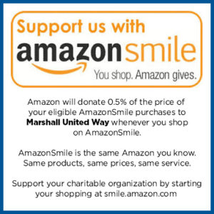 Support us with Amazon Smile. You Shop. Amazon Gives. Amazon will donate 0.5% of the price of your eligible purchases to Marshall United Way whenever you shop at AmazonSmile.